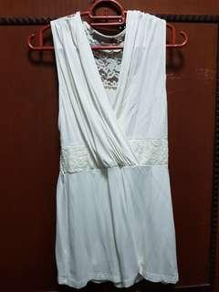 Cream Sleeveless Lace Top
