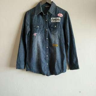 Long Sleeve Patches Denim Shirt