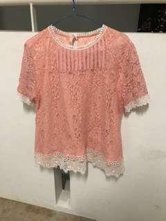 $4 lovely pastel peach pink orange flower lace blouse with white lace trimming
