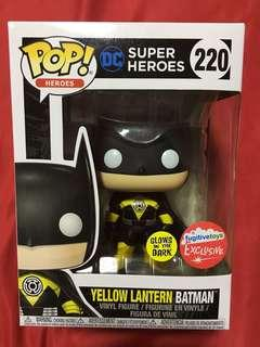 Funko Pop Yellow Lantern Batman Glow GITD Fugitive Toys Exclusive #220