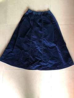 Initial 藍色絨面長裙