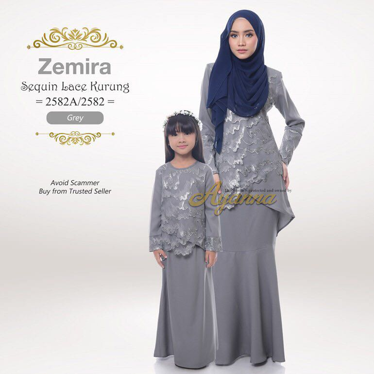 cfcd63d1 2582 & 2582A Zemira Sequin Lace Kurung, Muslimah Fashion, Two-piece ...