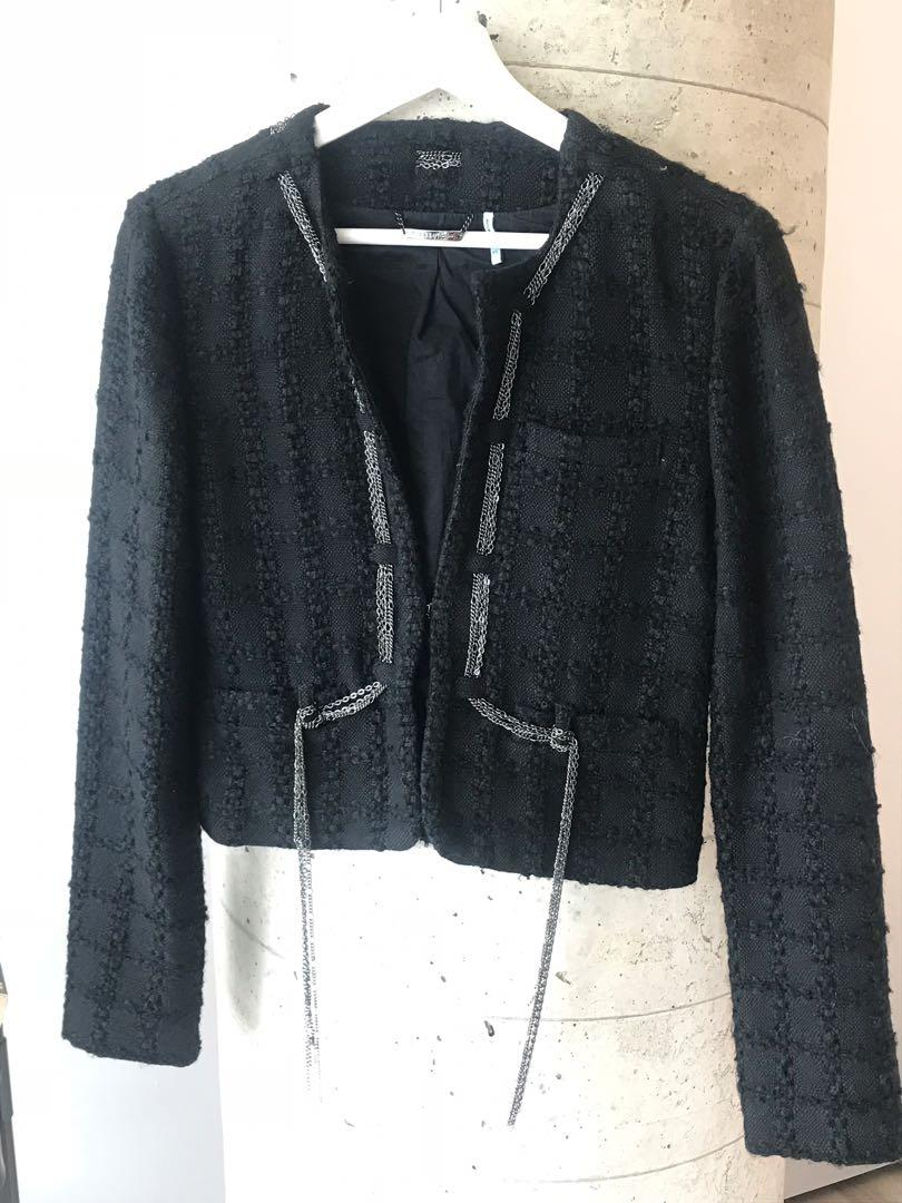 $40 Marciano Black Women's Tweed Blazer Size Small