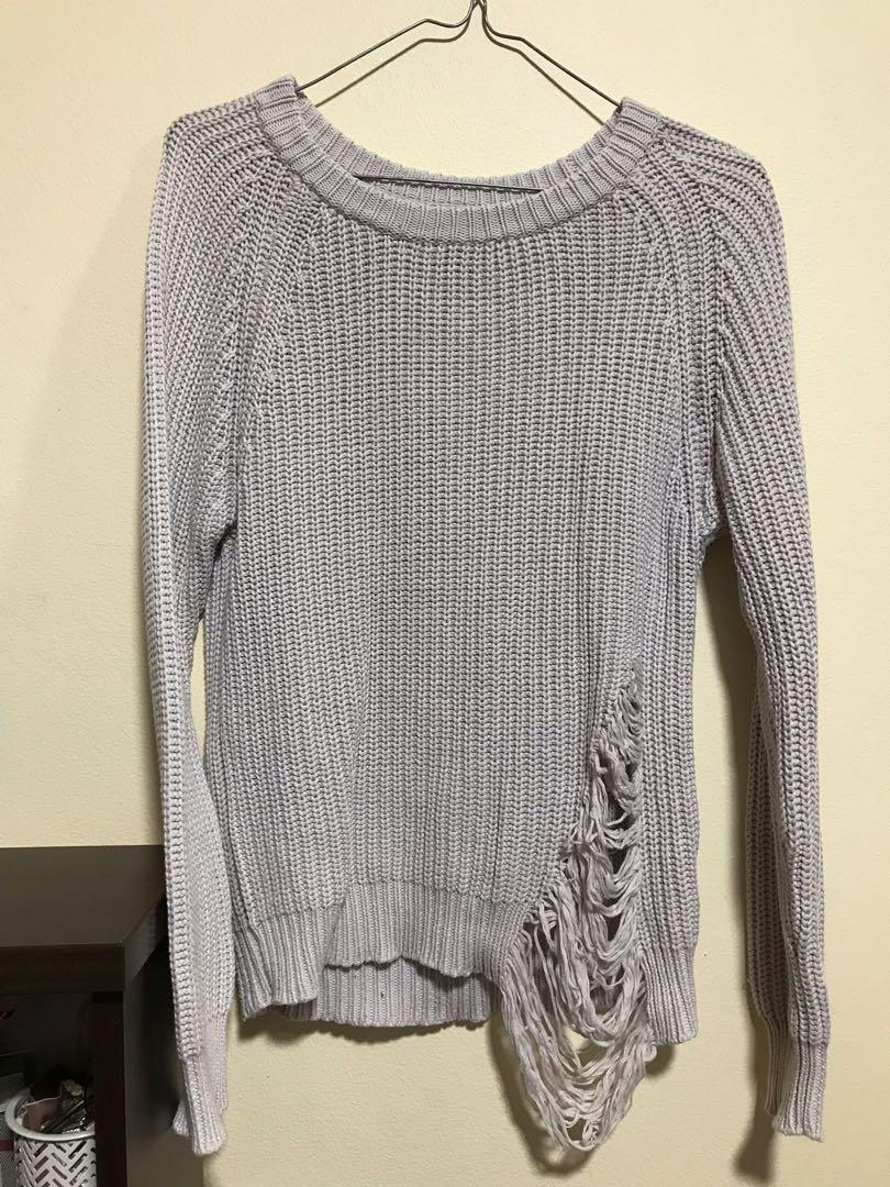 Alice In The Eve Grey Distressed Sweater