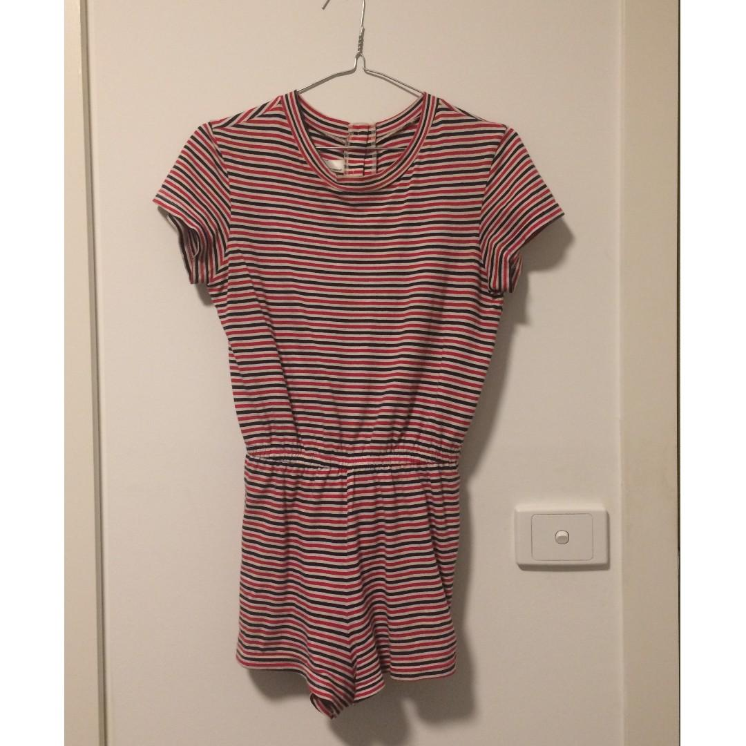 American Apparel Stripe T-Shirt Romper Red, White Navey XS