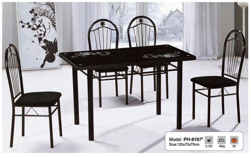 Black glass pattern dining table and chairs sale!