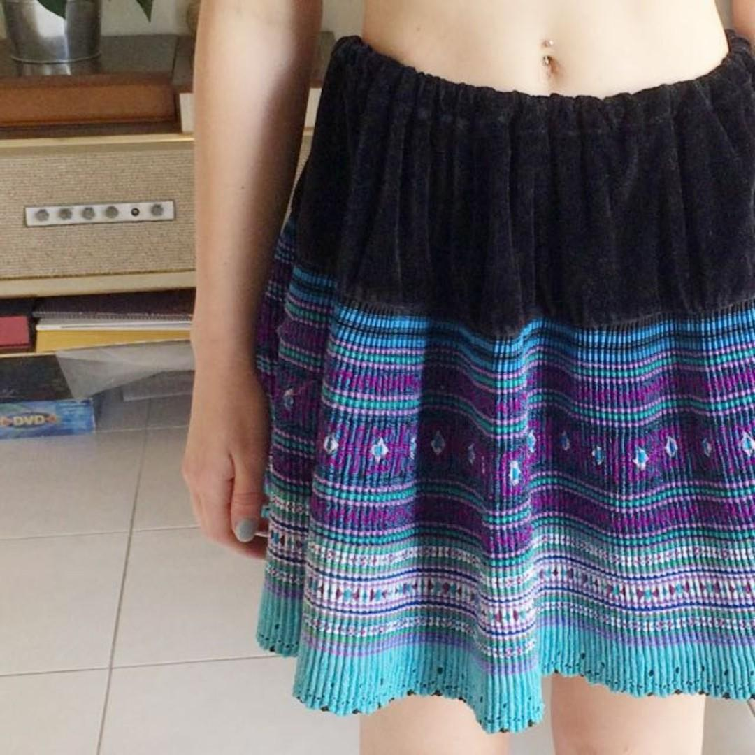 bright Patterned Skirt, Authentic Chinese Fits XS & S