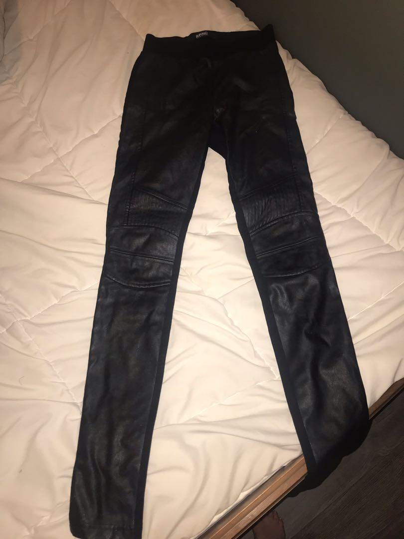 Buffalo leggings with faux leather on front and cotton back