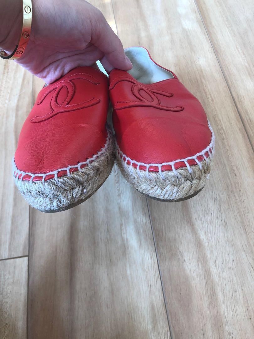 Chanel Red Lambskin Espadrilles (36)