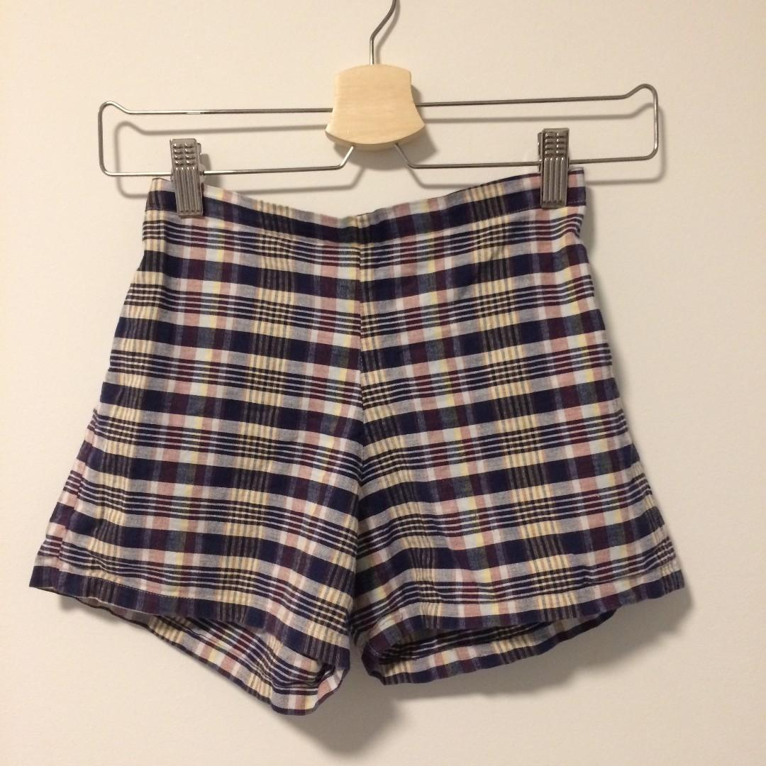 Checkered Mini Shorts - Vintage - purple, white, yellow