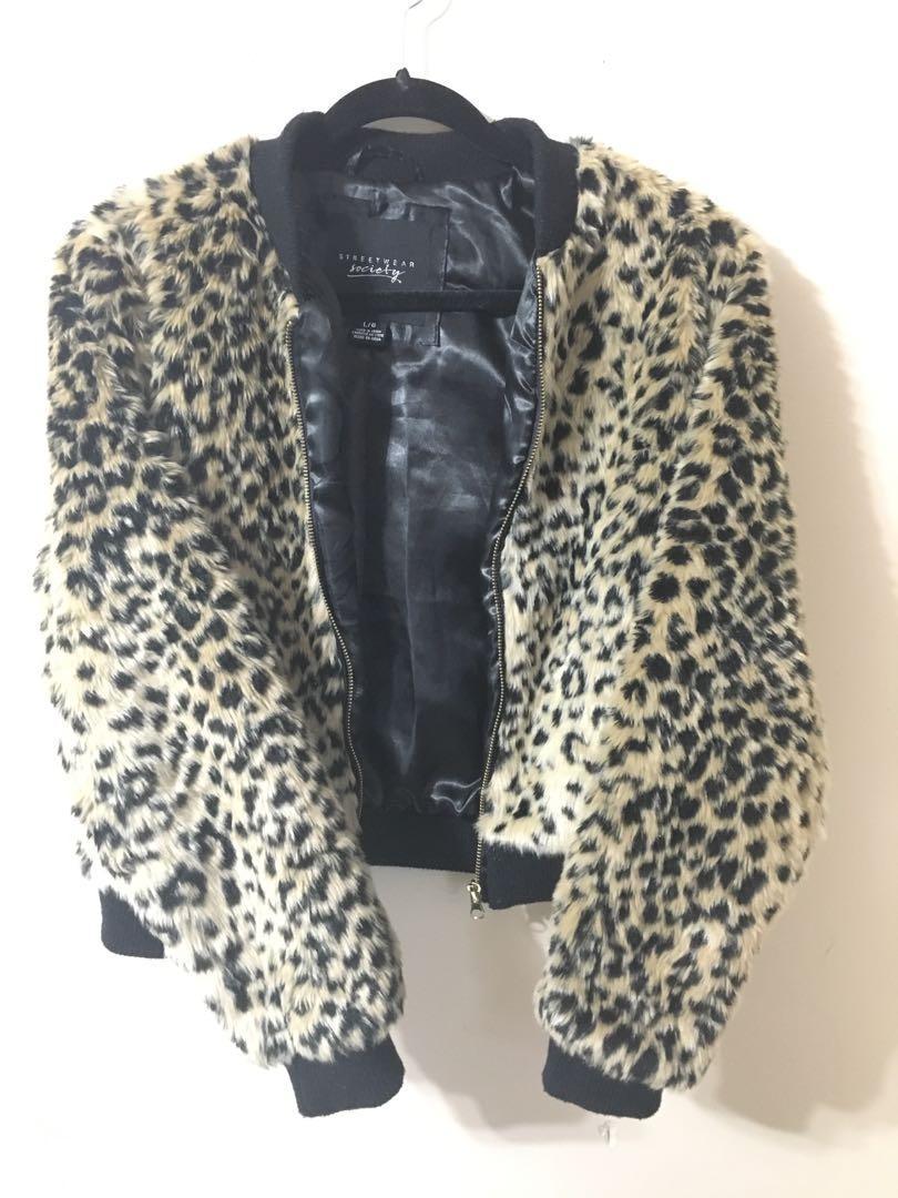 Cheetah print fur cropped jacket
