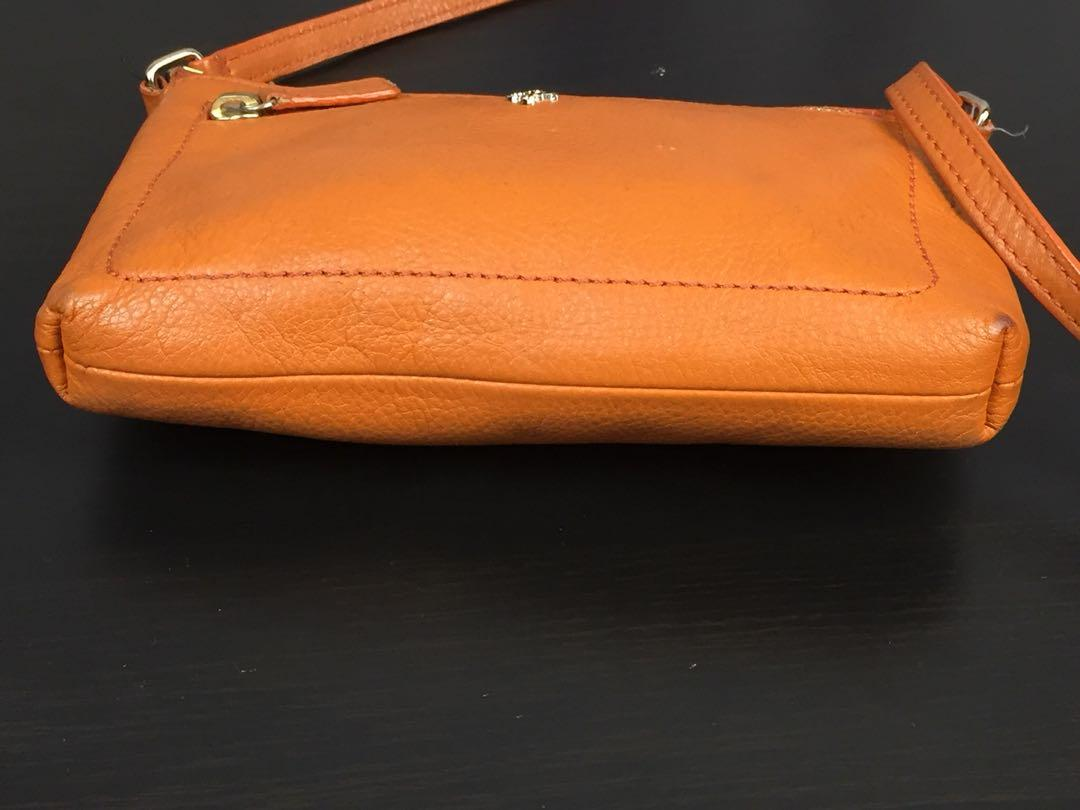 Cole Haan Ali Mini Leather Mustard Orange Color Crossbody Bag Purse