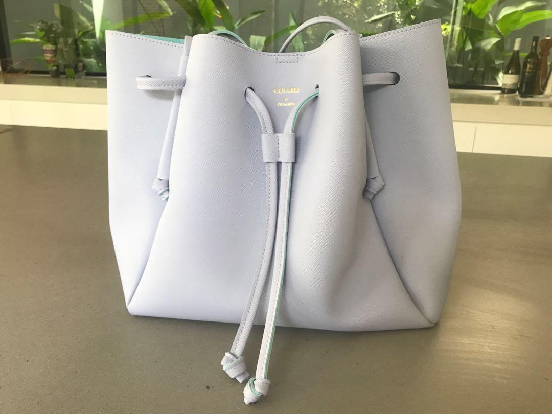 COLOUR BY JENNIFER SKY lilac blue bucket tote handbag