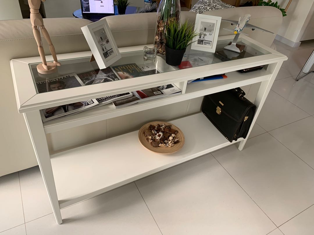 Console Table White Glass Behind Sofa Furniture Tables
