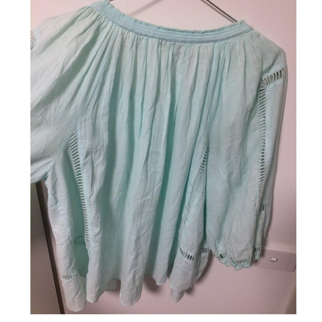 Country Road Gypsy Top Aqua Blue/green With Cut Outs