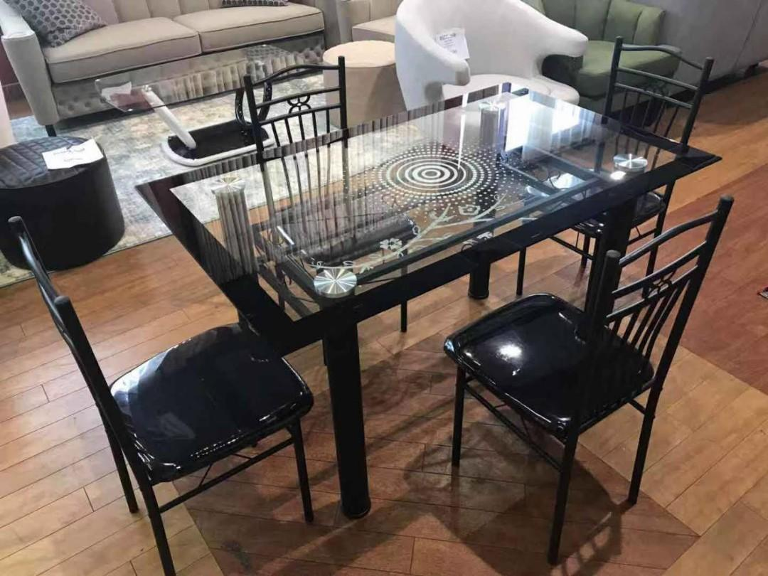 Double glass black dining table and chairs sale!