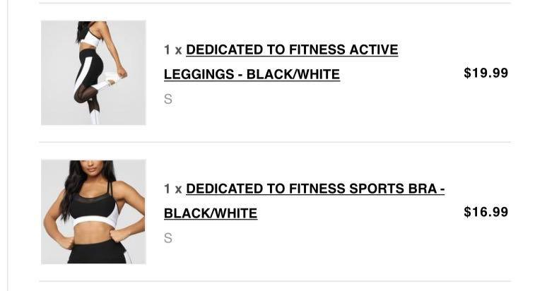 Fashion Nova dedicated to fitness leggings and sports bra set