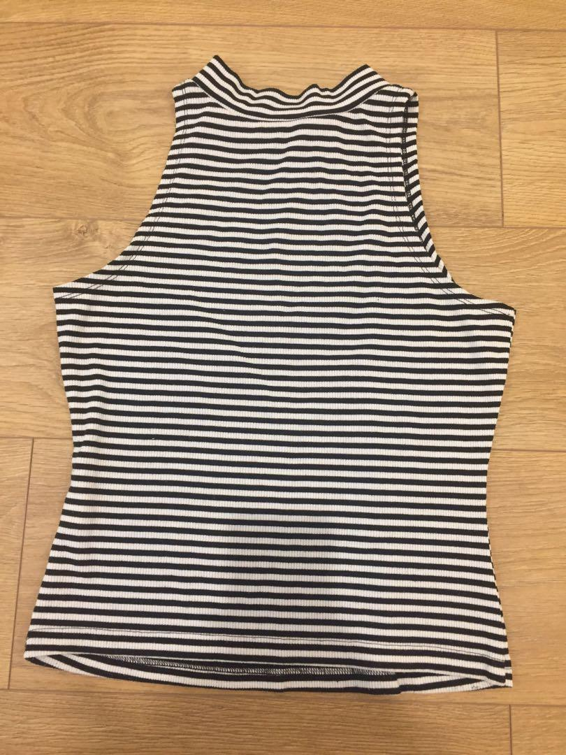 High neck stripe top size S