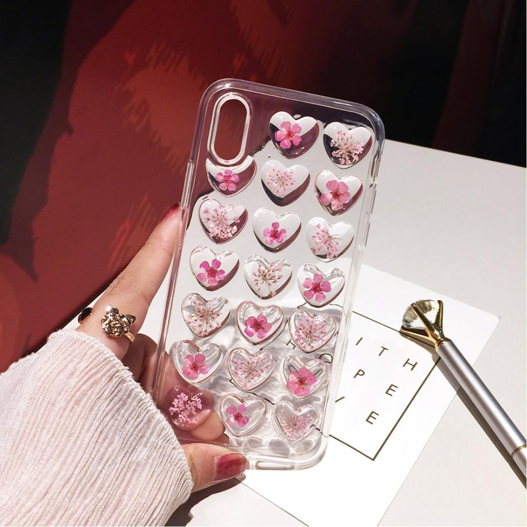 Japanese cherry blossoms heart iPhone case Korean style