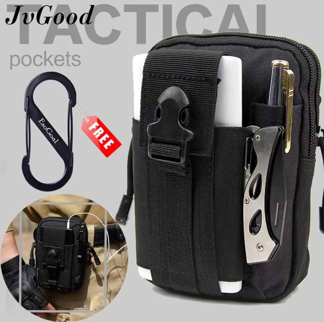 official photos 99c41 f0d54 JvGood Tactical Molle Pouch, EDC Utility Waist Belt Gadget Gear Bag Tool  Organizer with Cell Phone Holster Holder