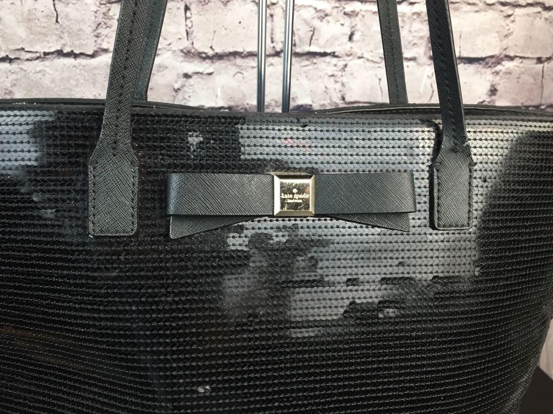 Kate Spade New York Black Sequin Salinas Bow Shopper Tote Handbag