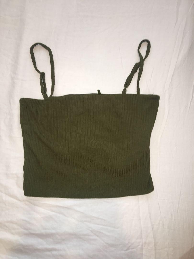 Khaki green half top - size small