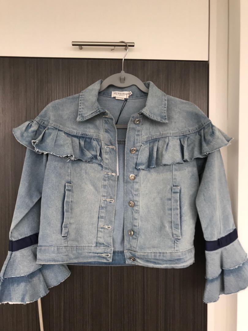 LILI SIDONIO // Size XS //Denim Jacket with Ruffle Details //