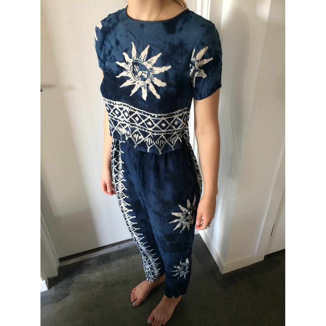 Matching Tie Dye Top and Bottom Romper Suit in Navy Blue and White with Sun Pattern
