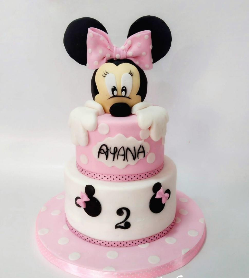 Miraculous Minnie Mouse Birthday Cake 3Tierss Food Drinks Baked Goods On Funny Birthday Cards Online Overcheapnameinfo
