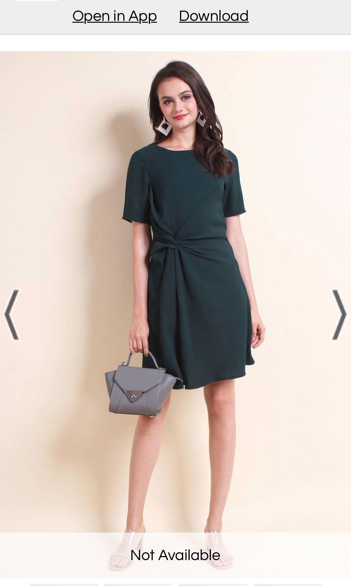 Neonmello Philia Tie Knot A line dress in Forest green