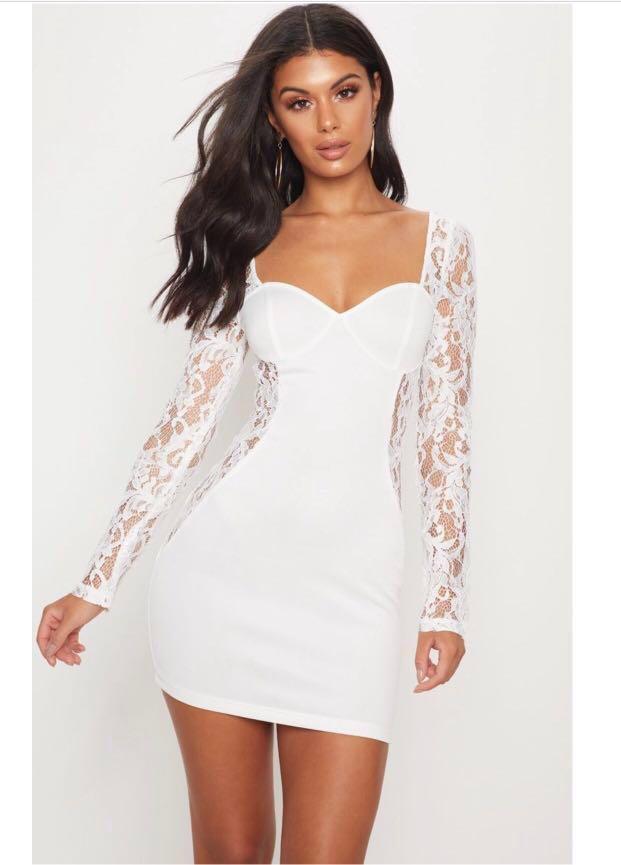 New, white sexy lace dress size 8