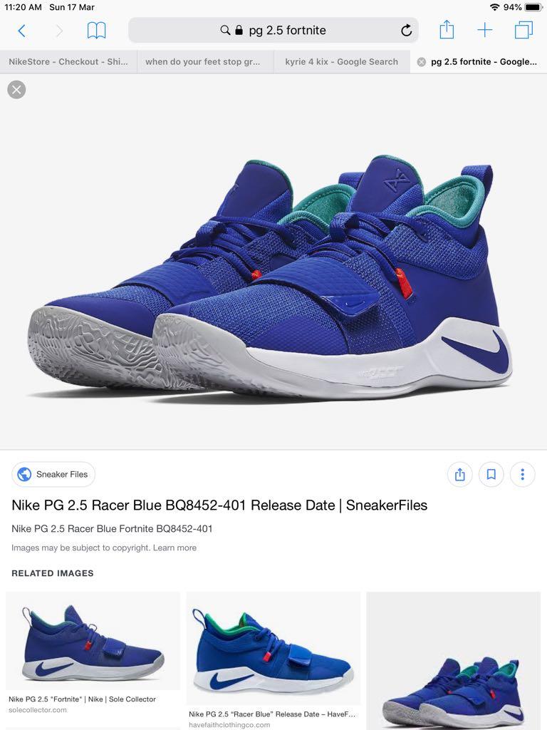 classic ff70f 03491 Nike pg2.5 Fortnite US9.5, Men's Fashion, Footwear, Sneakers ...