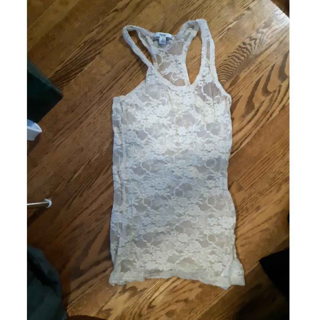 Nude lace tank #SwapCA