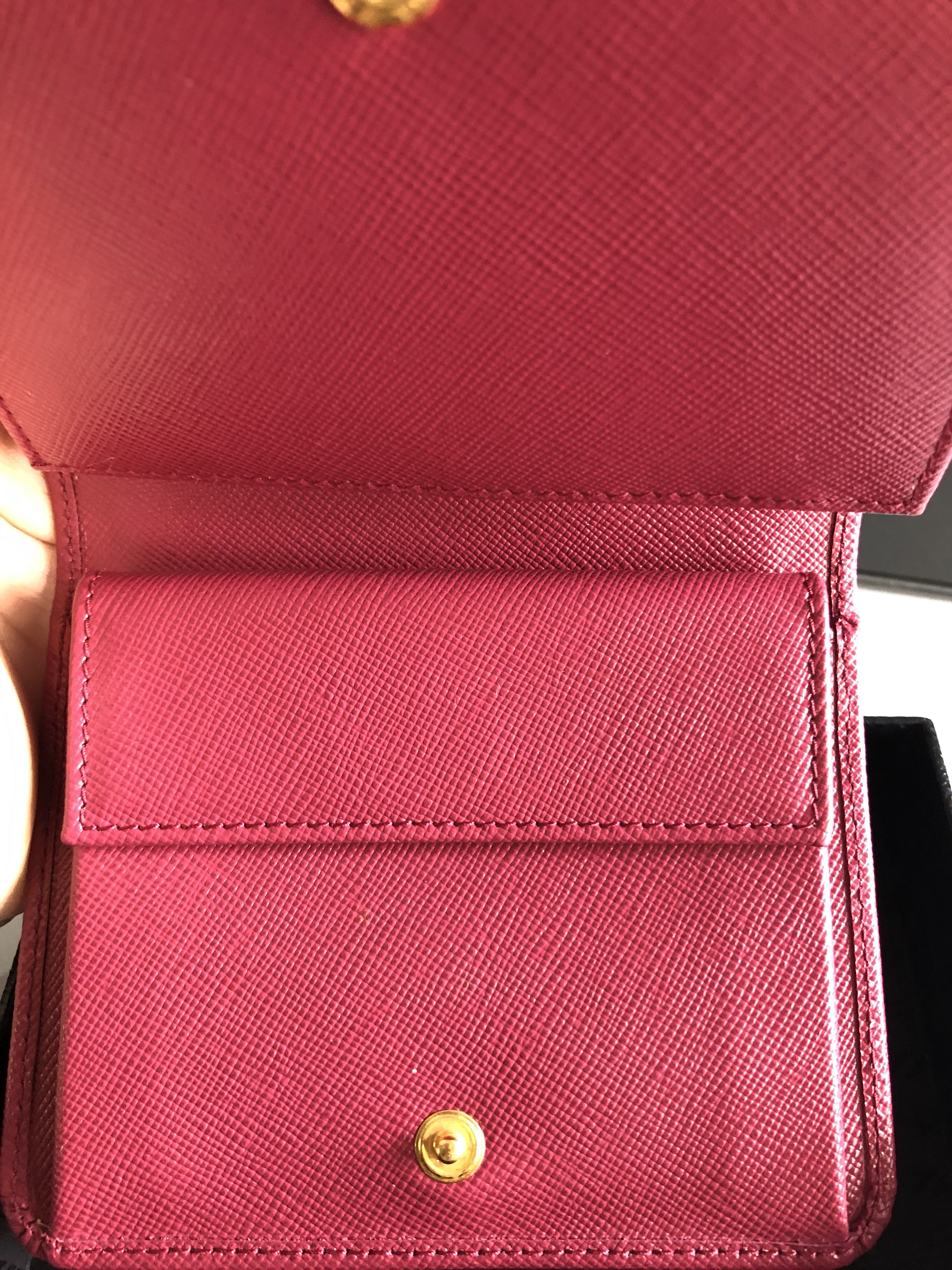 23967d080f9c2e Prada Saffiano Short Trifold Wallet (Ibisco), Luxury, Bags & Wallets,  Wallets on Carousell