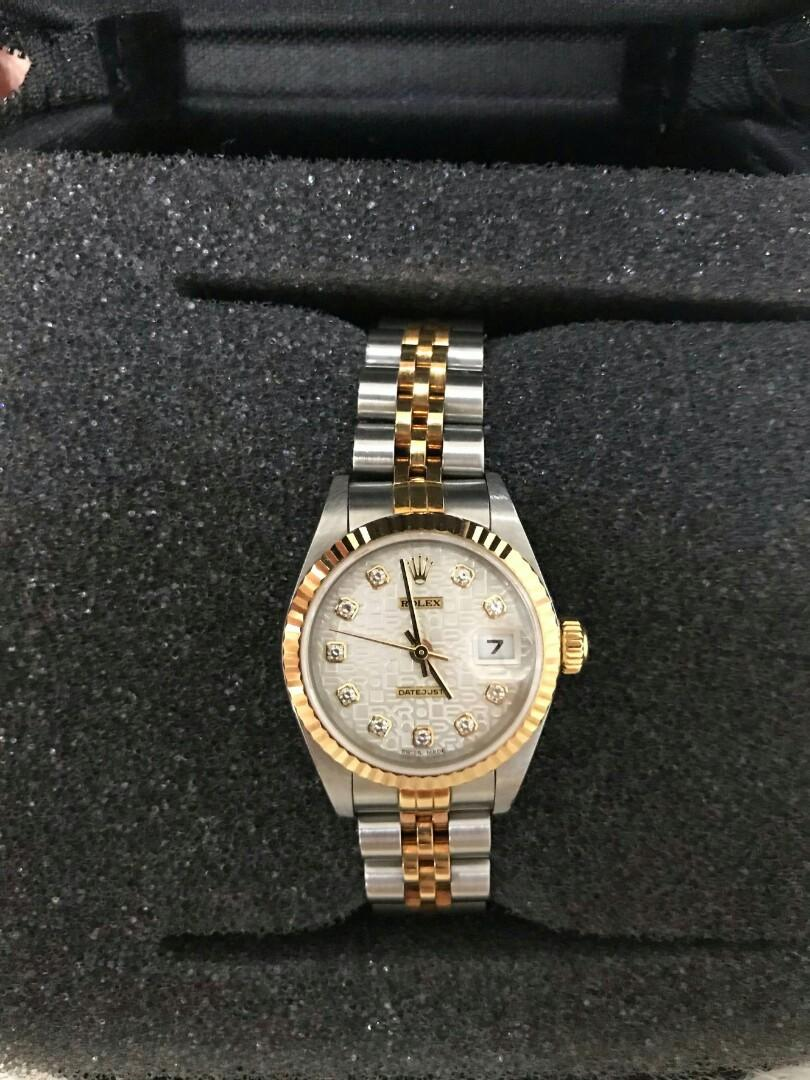 Preloved Rolex 26 mm computer face diamond inside (thn 2004) .. watch and replacement box