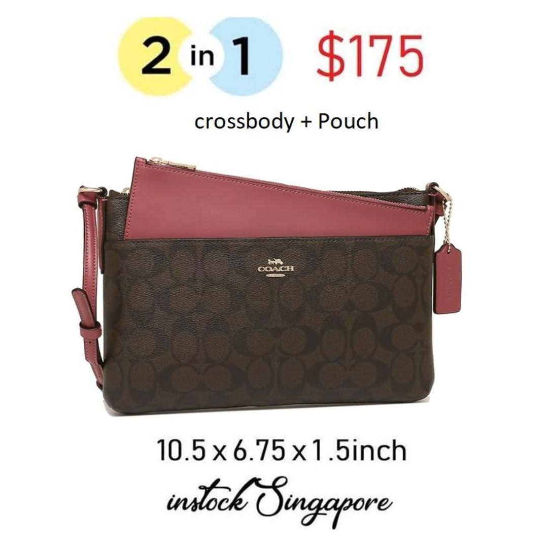 READY STOCK authentic new  Coach EAST/WEST CROSSBODY WITH POP UP POUCH IN SIGNATURE (COACH F58316) BROWN ROUGE