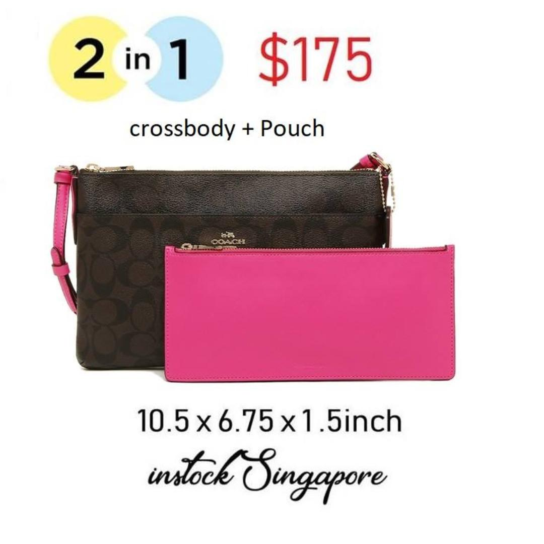 READY STOCK authentic new  Coach EAST/WEST CROSSBODY WITH POP-UP POUCH IN SIGNATURE COATED CANVAS (COACH F23865)