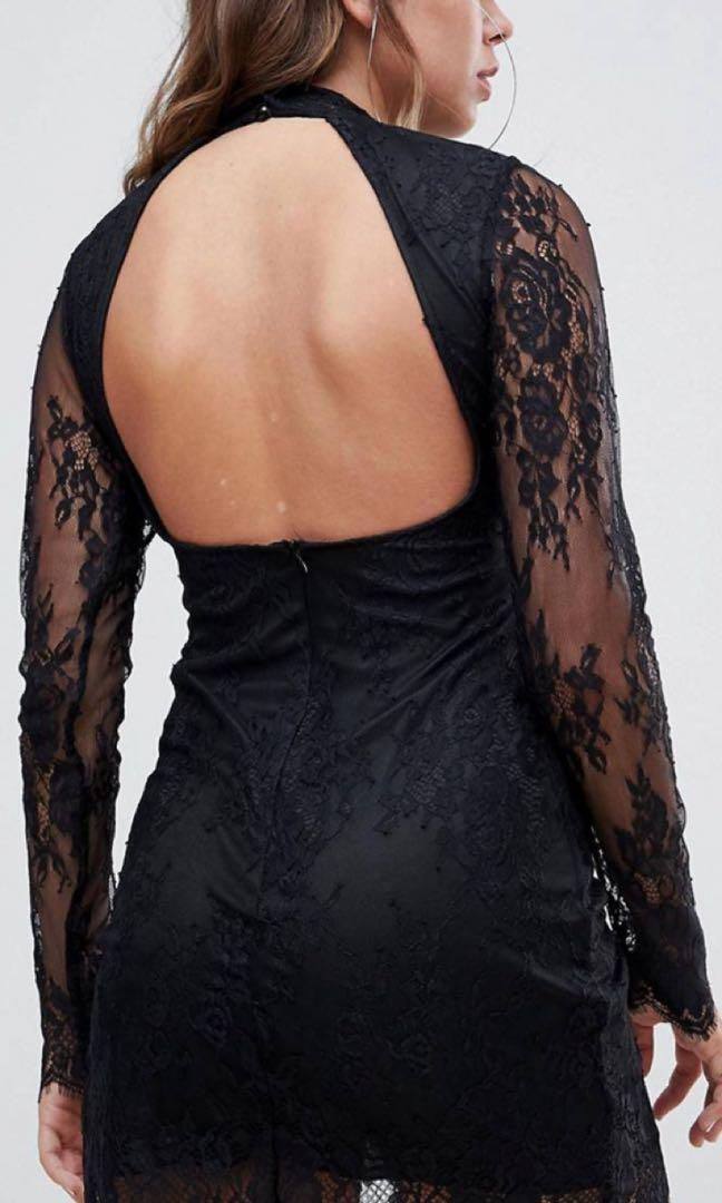 Sexy Motel Long sleeve lace dress in black thigh split