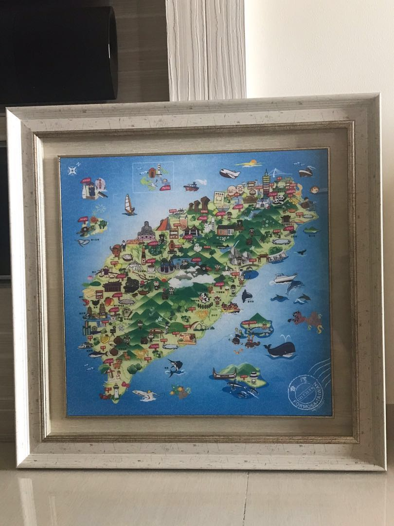 Taiwan map in frame on maps in text, maps in art, maps in home, maps in paintings, maps in paper, maps in wood,