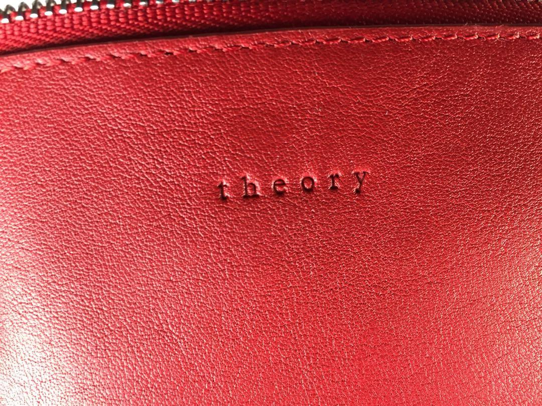 THEORY Red Leather Clutch/Makeup Bag