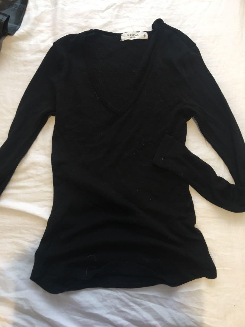 Thermal black long sleeve top - size 10 - glassons