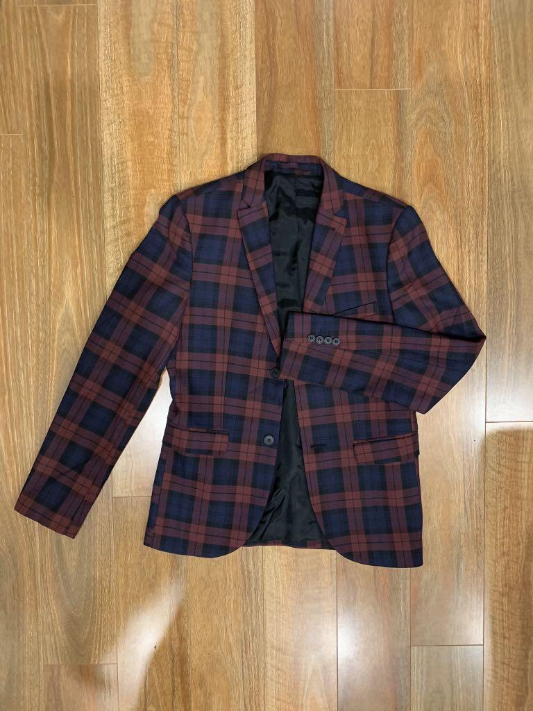 Topman Burgandy Tartan Suit Jacket