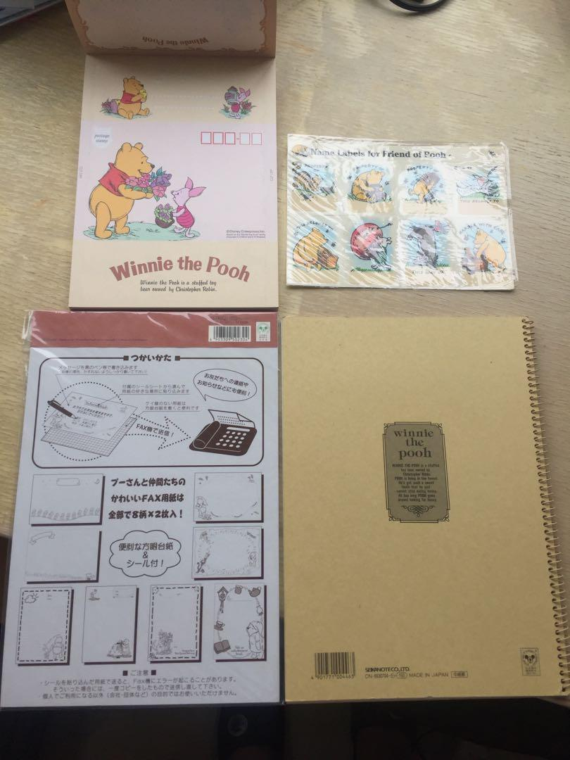Winnie the Pooh name labels, notebook, letter pad