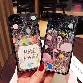 Flamingo Black Glitter Case for iPhone