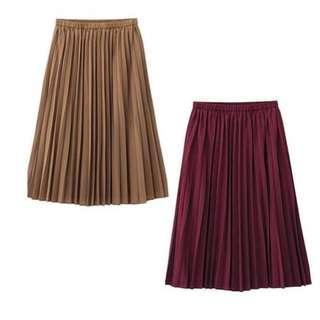 Pleated Skirt Uniqlo Choco