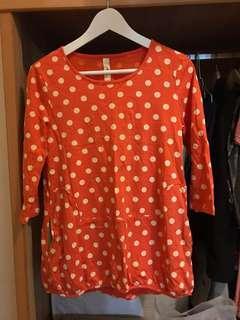 🚚 A la sha 點點洋裝 亮橘