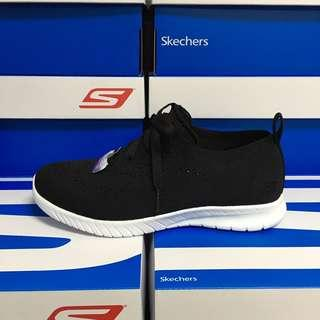 斯凱奇 女子黑白編織休閒鞋Skechers