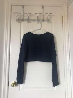 Navy Forever 21 Cropped Sweater Top