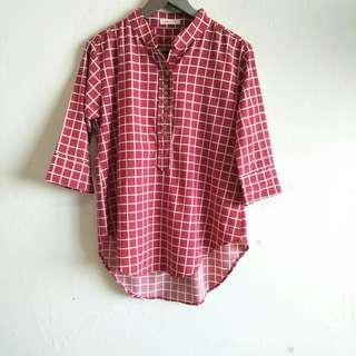Long Sleeve Red Checkered Blouse