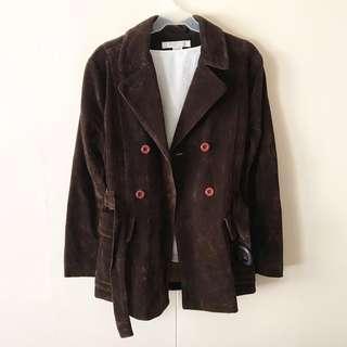 Brown Velvet Trench Coat